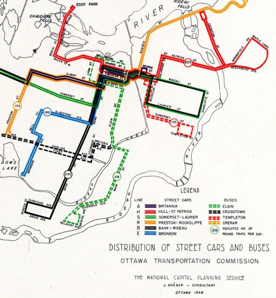 Canadian Street Railways  C2 B7 Distribution Of Street Cars And Buses Ottawa Transportation Commission 1948